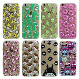 Wholesale Luxury Soft TPU D Cute Cartoon Eyes Move Mouse Cat French fries banana Popcorn Phone Case For iphone s Plus Cover Back