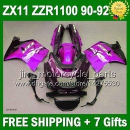 Purple black 7gifts For KAWASAKI 90-92 NINJA ZX11 36#158 Stock purple ZX-11 ZZR 1100 ZX 11 90 91 92 ZZR1100 ZX11R 1990 1991 1992 Fairing