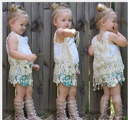 2016 Fashion Girls Tassels Waistcoat Kids Lace Vest Children Sleeveless Lace Tassels Waistcoat Baby Girl Vest Cute Girl Outwear Child Vest
