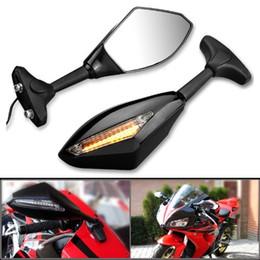 Wholesale Motorcycle Amber LED Turn Signal Light Racing Side Rear View Mirror for most Honda Kawasaki Suzuki SV650 Katana GSX600F GSX750F