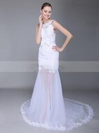 Wholesale Elegant Sheer Skirt Wedding Dresses With Long Train Vintage Sheer See Through Wedding Dress Plus Size Wedding Gowns Allure Bridal Gowns