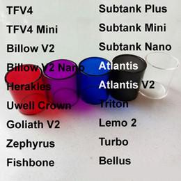 Billow v2 en Ligne-Pyrex verre Tube remplacement clair pour Tube Smok TFV4 Mini Zephyrus Bulow v2 nano Goliath V2 Sense Herakles Uwell Verre Réservoir Couronne Fishbone