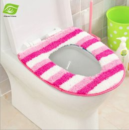 Wholesale Sticky Button Toilet Mat Pad Coral Fleece Warm Toilet Seat Cover dandys