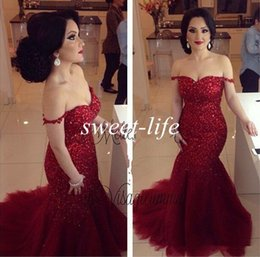 Gorgeous 2019 Red Mermaid Evening Dresses Sexy Off Shoulder Backless Bling Sequins Plus Size Celebrity Gowns Long Formal Party Prom Dresses