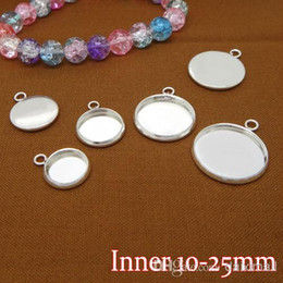 Wholesale 100PCS Silver Plated Pendant Blank with inner mm Bezel Setting Tray for Cameo Cabochons DIY Jewelry