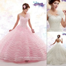 Wholesale Vestidos Debutantes Para Quinceaneras Light Pink Organza Ball Gowns Quinceanera Dresses Tiered Skirt Prom Party Dress Patterns Styles