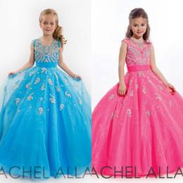 Beauty Little Girls Glitz Pageant Dresses Ball Gown Jewel Beads Applique Blue And Fuchsia Floor Length Kids Flower Girl Dresses AC0233
