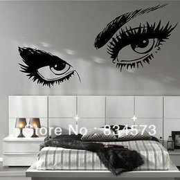 Wholesale-LARGE WOMAN EYES SALON LIPS Decoration Wall Stickers Wall Decal Wallpaper Decor Stickers Vinyl Wall Art Decals Poster 95x45cm