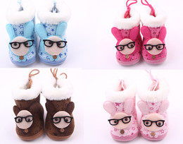 Wholesale Cheap Glass Shoes - Drop shipping!Lovely glasses rabbit baby shoes,soft cartoon toddler shoes,winter warm walker shoes,cheap kids snow boots!12pairs 24pcs.ZH