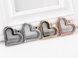 NEW 10PCS lot 4Colors Magnetic Heart Shape Glass Floating Locket Pendant For Necklace Chain Making