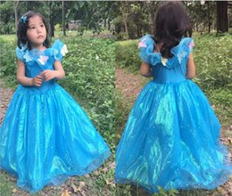 Wholesale 2015 New Best Sale Girls Cinderella Dresses Girls New Cartoon Dresses Movie cosplay costumes girl blue dresses Girls Party Dresse