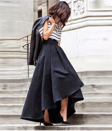New Fashion Black Skirts High Low Satin Bust Skirts For Women Skirt High Quality Zipper Waist Plus Size Formal Dresses Party Gowns