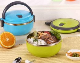 Wholesale Fashion Hot Creative portable circular stainless steel insulation boxes green plastic student lunch box Child Bowl
