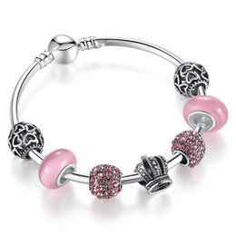 Fashion Charm Bracelet Bangles with Pink Murano Glass Beads & Brilliant Cubic Zirconia Silver Charms & Crown Charms BL086