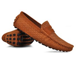 EUR38-45 Woven Leather SLIP-ON penny Loafer mens Business driving car shoes 6 colors