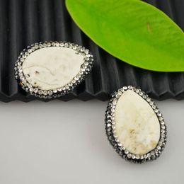 Hot! 8Pcs Druzy White Turquoise Stone & Rhinestone Crystal Connector Beads Charm Jewelry Making