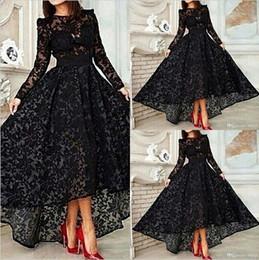 Wholesale Vestido Black Long Sleeves A Line Lace Prom Evening Dresses Vintage High Low Prom Dresses Gowns EA0434