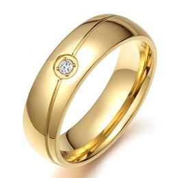 Free Laser Engraving 6mm Fashion Crystal Wedding Rings in Stainless Steel