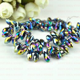 Wholesale Sale Price x12mm Colorful Plating Color Briolette Pendants Waterdrop Crystal Glass Jewelry Loose Teardrop Beads DIY