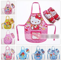 Wholesale 24 Styles Cartoon Aprons With Oversleeve Froze Elsa Princess Sofia Cars Train KT Dora Children Girls Cooking Pinafore Kitchen Apron J2066
