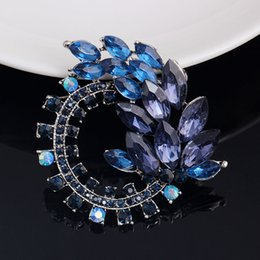Wholesale-2015 brooch fine jewelry sterling vintage silver jewelry brooch ink sapphire crystal wedding dress broches summer jewelry