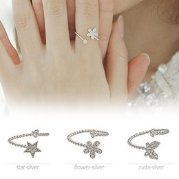 South Korean star with money S925 Silver Butterfly star flowers Micro Pave CZ silver ring opening three-piece