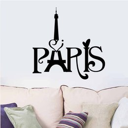 Wholesale 3D Sall Stickers Eiffel Tower Stickers PARIS Carved Living Room Bedroom Wallpaper Background Decorative Removable Waterproof cm cm