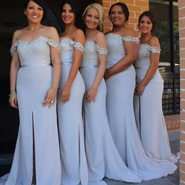 2015 Mermaid Bridesmaid Dresses 2016 Off Shoulder Satin Sweep Train Bridesmaid Gowns with Front Split Lace Wedding Party Dresses