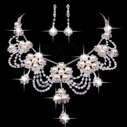 Wholesale 2016 fashion luxury bridal necklace set wedding jewellery rhinestone beaded artificial wedding two sets wedding jewelry accessories
