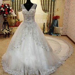 Wholesale 2015 New Luxury Wedding Dresses Bridal Gown With Sheer Strap V Neck Crystals Sequined Cathedral Train Buy One Get One Petticoat