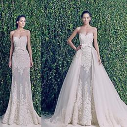 2015 Sheer Zuhair Murad Wedding Dresses Sweetheart Appliques Tulle Detachable Skirt Bow Belt Sleeveless Bridal Gowns vestido de noiva