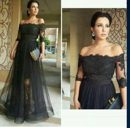 Fashion Black Evening Gowns Off Shoulder Lace Appliques Half Sleeves Draped Tulle A Line Floor Long Sexy Plus Size Women Formal Prom Wear