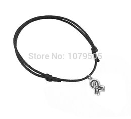Wholesale Customized a antique silver plated ribbon Pow Mia wax string charm bracelets