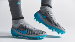 Wholesale Nike soccer shoes for sale Men Best Soccer Boots Nike Magista Obra FG Turquoise BI Black Wolf Grey Athletic Outdoor Shoes high cut with sock