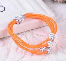 Hot Sale Fashion Pu Leather Wrap Wristband Cuff Punk Magnetic Rhinestone Women Bracelet Bangle Jewelry