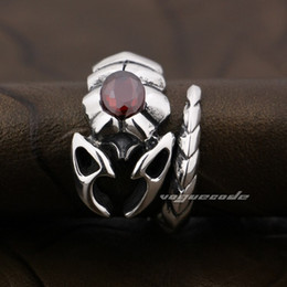 925 Sterling Silver Ruby CZ Stone Tribal Scorpion Mens Ring 9D002 US Size 10~12 Free Shipping