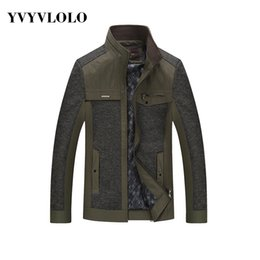 Fall-YVYVLOLO 70%Polyester Men's Business Casual Bomber Jacket British Style Splicing Brand Veste Homme Plaid Military Coat XL-4XL