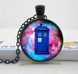 Wholesale House Necklace Doctor Who pendant Doctor Who necklace Tardis jewelry Tardis pendant time machine Glass Dome Pendant M77