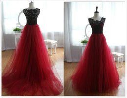 Wine Red Burgundy Black Lace Evening Dresses Tulle Skirt Vestidos De Fiesta Red Carpet Dresses Sheer Neck Prom Gowns Covered Buttons