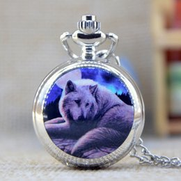 Wholesale New Fashion Silver Elegent wolf with Mirror Case Quartz Pocket Watch Analog Pendant Necklace Mens Womens Gifts P351