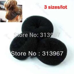 3pcs set New Soft Black Bun Sponge Donut Shape Lady Hair Styling Tool Magic Hair Hair bun Sponge Bun S M L Three sizes free shipping