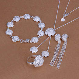 High grade 925 sterling silver Sose Set jewelry sets DFMSS323 brand new Factory direct sale 925 silver necklace bracelet earring ring