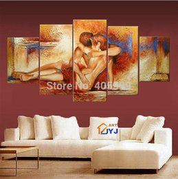 Wholesale Nude Girl and Boy Thick Texture Handmade Modern Abstract Oil Painting On Canvas Wall Art Wedding Bedroom Decoration JYJHS006