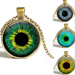 Wholesale Mix design Evil eyes Art necklace Antique Bronze silver Photo Glass Cabochons Sweater necklace time necklace NE163