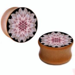 Wholesale 8mm-25mm pink flower wood plug gauges flesh tunnel saddle ear plugs ear expander WSP011