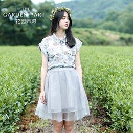 New summer garden party's summer 2015 fashion female flower shirt loose shirt girl summer