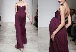 Vintage Plus Size Bridesmaid Dress with Ruffles Empire Style Maternity Spaghetti Pregnancy Chiffon Floor Length Evening Gowns