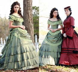 Wholesale Nina Dobrev Victorian evening dresses halloween Costume Elena Vampire Diaries Dress Katherine Pierce Pastel Green Special Occasion Dress