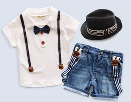 Wholesale Summer Baby Boys Kids Clothes Sets Short Sleeve False Straps Bowknot Shirts Cowboy Suspender Trousers Gentleman Hat Child Outfits L1237