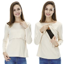 Wholesale Pure cotton Nursing top Basic Round neck Breastfeeding top Autumn and winter Maternity clothes for pregnant women